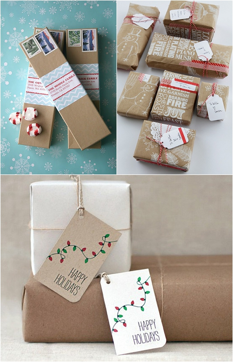 Wedding Gift Card Wrapping Ideas : ... wedding-interiors-styling-red-white-green-brown-kraft-paper-gift-wrap