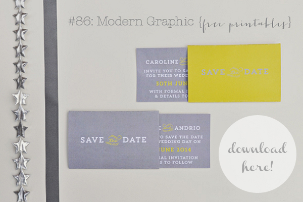 free yellow grey save the date printable wedding stationery