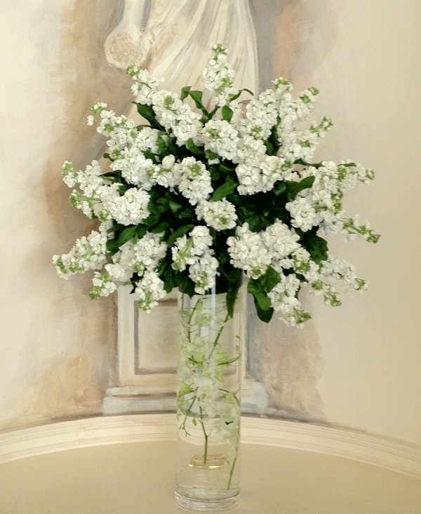 White Stock And Singapore Orchids By Blue Sky Flowers Bloved Blog