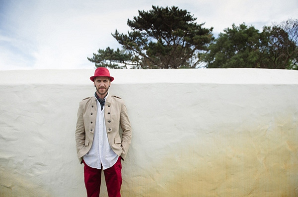 alternative groomswear, red hat and trousers