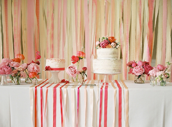 coral ribbon backdrop dessert table