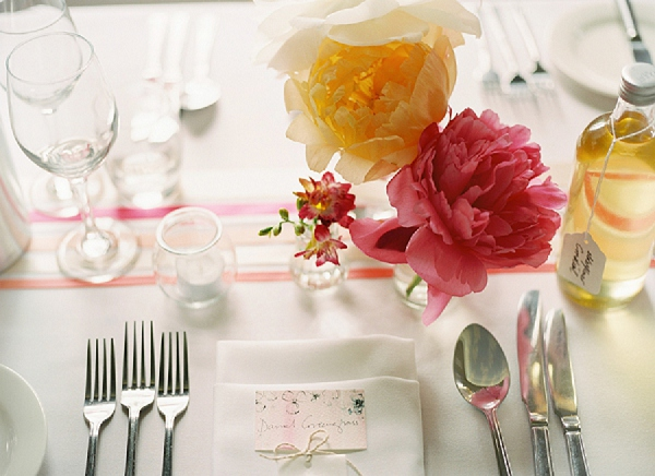 coral wedding tablescape