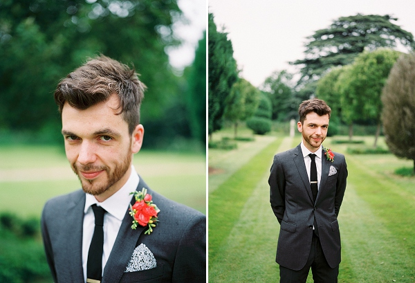 burburry groomswear with coral boutonniere