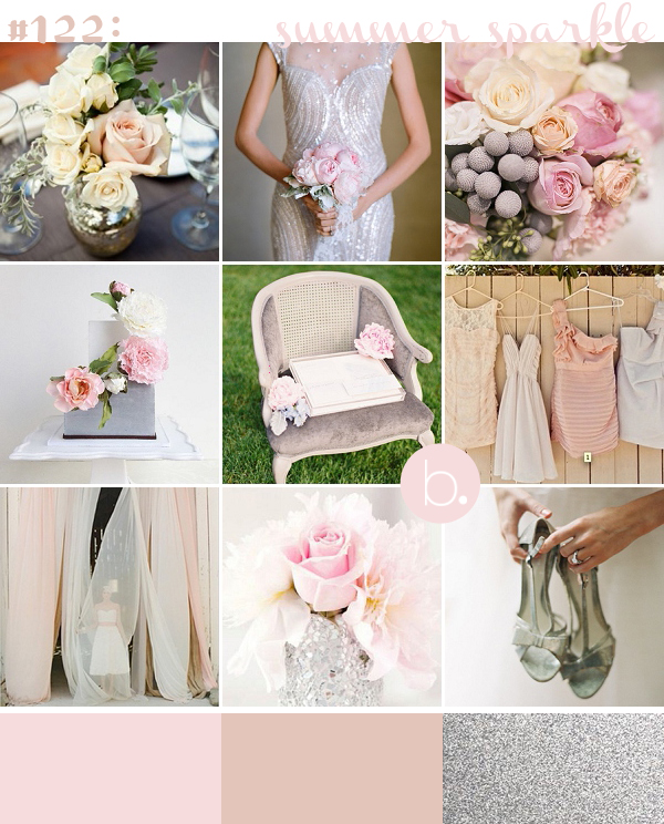 silver glitter and blush wedding inspiration