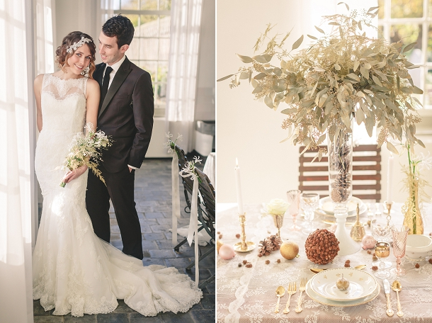 Blush Pink Gold Vintage Winter Wedding Inspiration