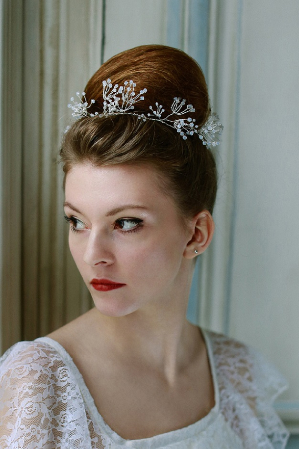 bloved-uk-wedding-blog  Cherished Nature's Diadem collection 2013-14 Cow Parsley hair vine close up model