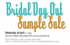 Bridal Sample Sale London 30th April 2014