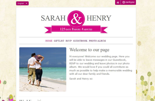 Wedding Websites Ideas: Personalised Wedding Websites & Gift LIsts From Zankyou