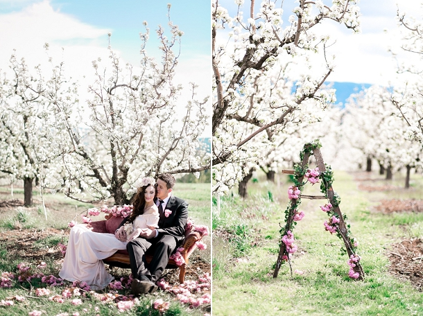 Spring Blossom Wedding Ideas and Vintage Ladder Decoration