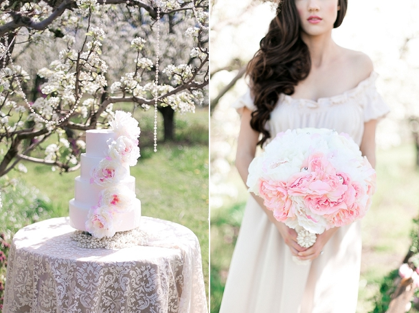 Blush Pink Peony Cascade Cake and Peony Bouquet