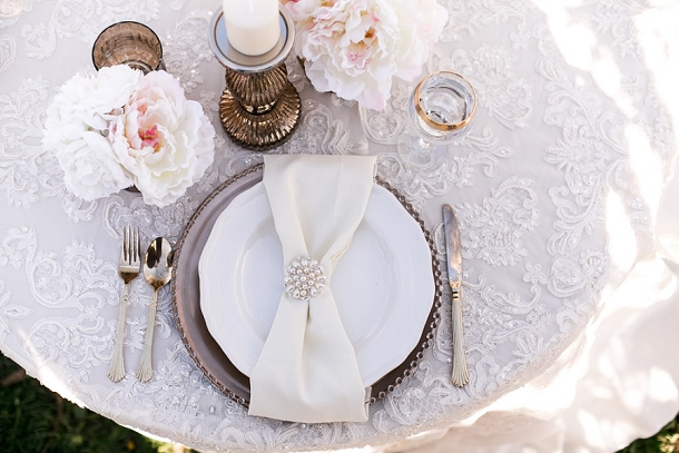 Blush & Gold Place Setting with Bow Napkin