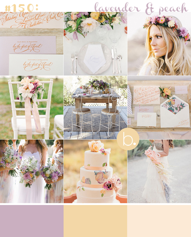 lavender & peach spring wedding inspiration board