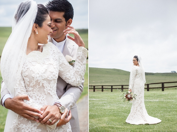 Bride in Bespoke Lace Wedding Dress by Vanilla Photography