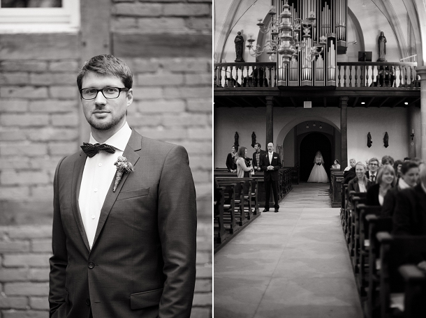 Groom wearing glasses & black tie
