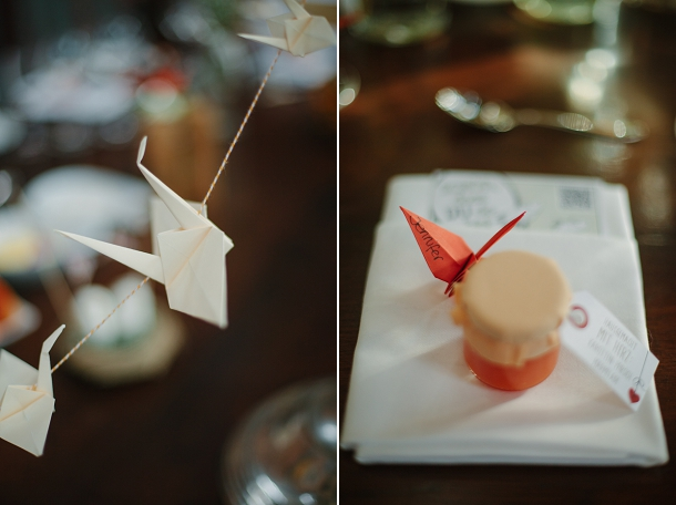paper crane place setting with chilli jam
