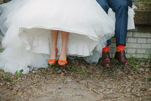 Orange wedding shoes and socks