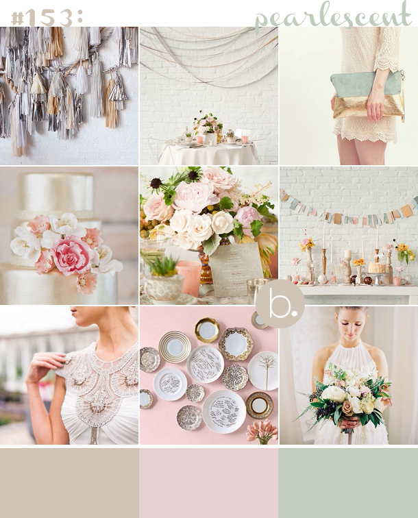 Pearlescent pastel inspiration in blush, mint and oyster, matt metallics