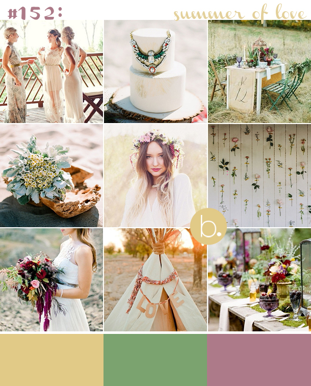 bohemian summer wedding inspiration, gold, mustard, plum, emerald, festival wedding, bohemian bride, floral crown