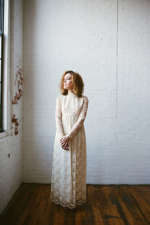 Thrift store vintage lace wedding dress, Cait Kimball Photography