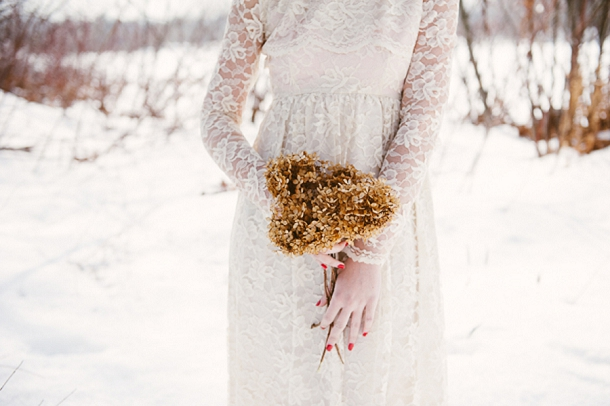 Dried hydrangea winter wedding bouquet, Cait Kimball Photography