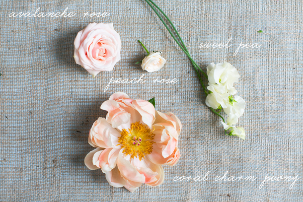 peony, avalanche rose, sweetpea floral recipe