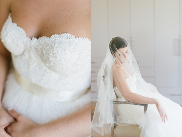 Lace wedding dress & veil by Janita Toerien