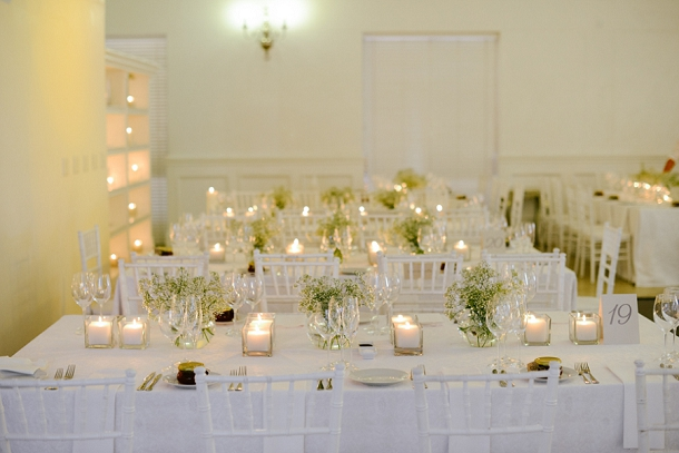 Romantic candlelit wedding reception