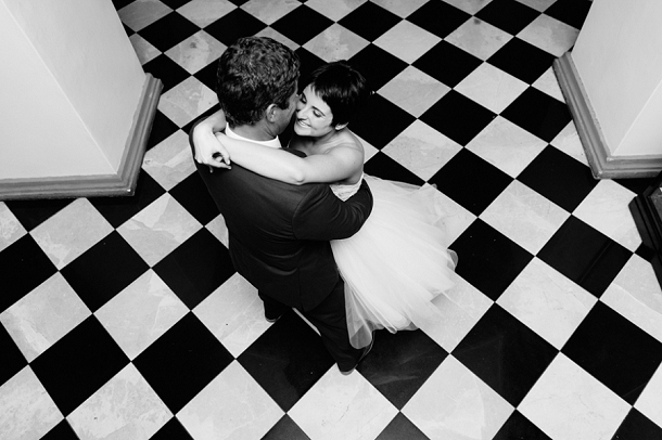 Black & white wedding dance
