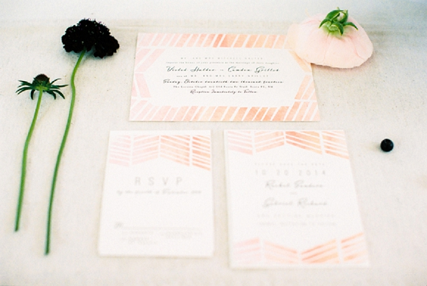 Blush striped wedding stationery