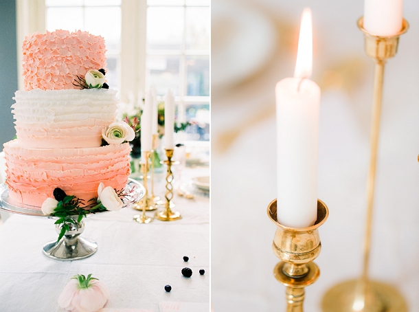 Blush ombre wedding cake