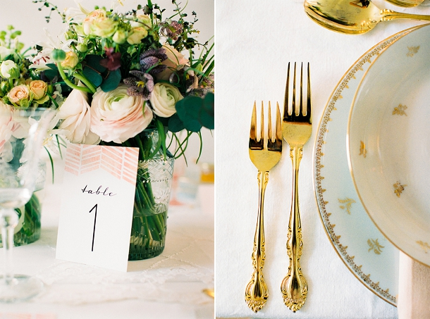 Gold cutlery hire from Helene Millot