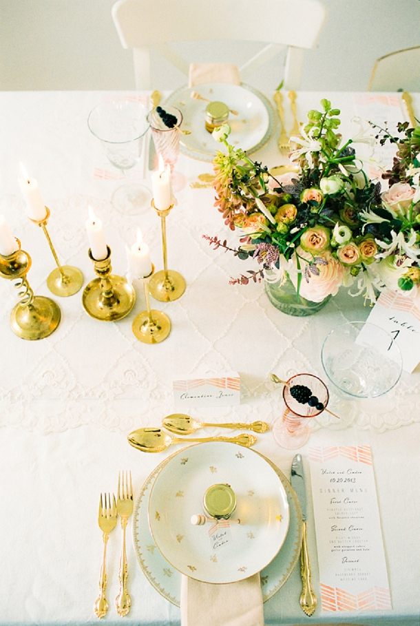 Blush & gold wedding table setting