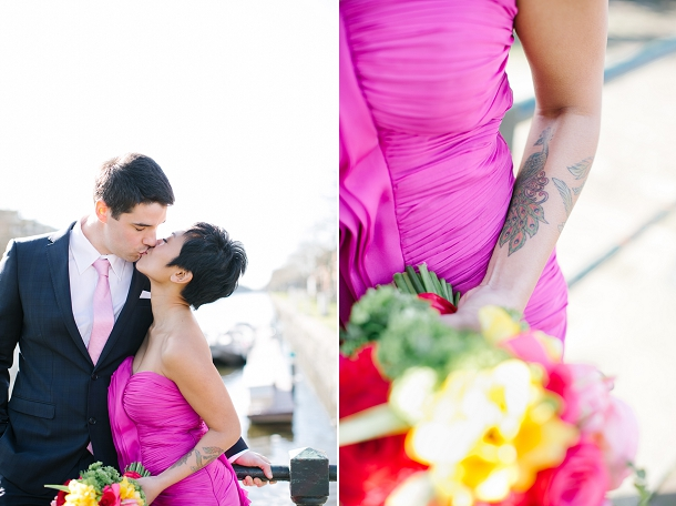 bride in bright pink dress