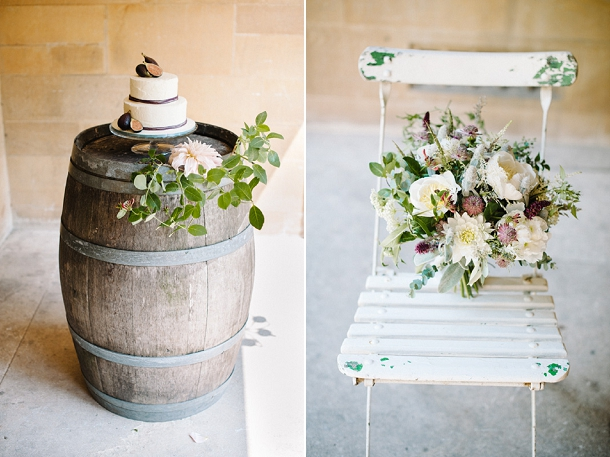 Fig wedding cake on a wine barrel