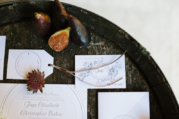 Fig inspired wedding stationery