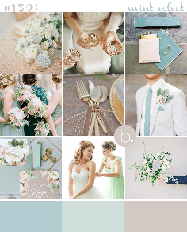 Mint, succulents & gold wedding inspiration board