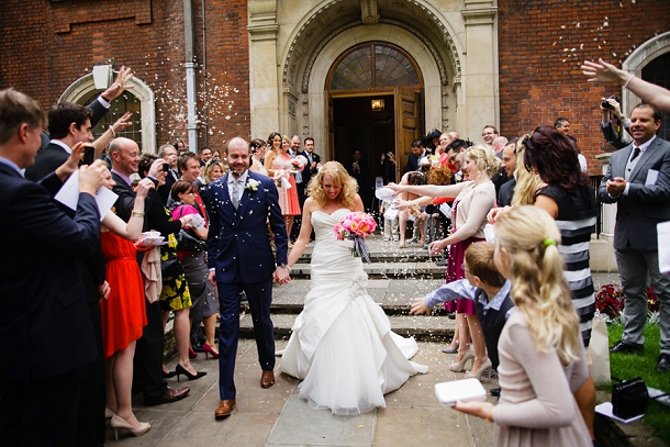 London church wedding confette
