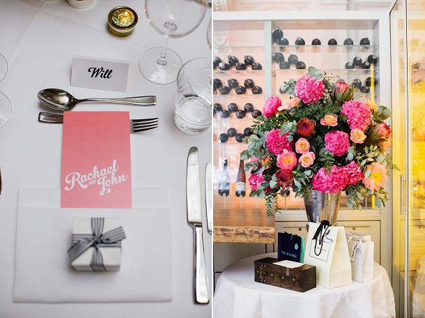 Coral & monochrome wedding table setting
