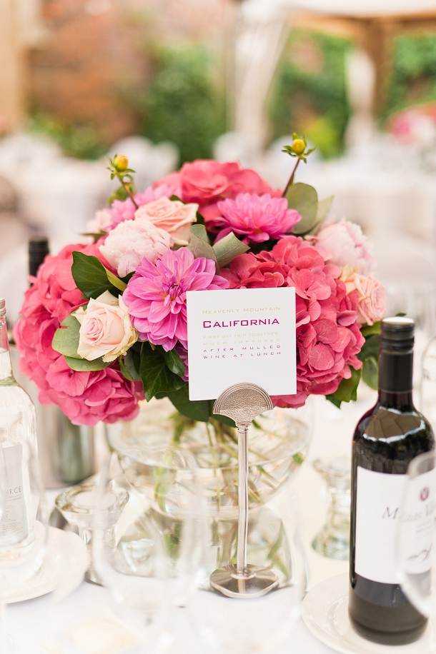Pink hydrangea, roses, and chyrsanthamum table centre