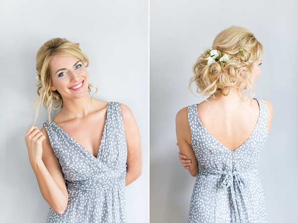 Maids to Measure Lisette in grey polka dot chiffon