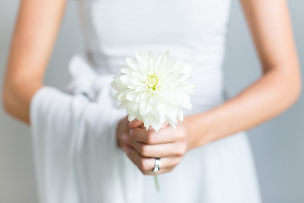 White dahlia single stem bouquet