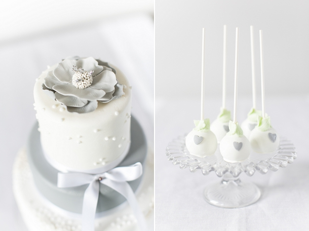 Elegant grey & white lace cake pops by Karenanna Cakes