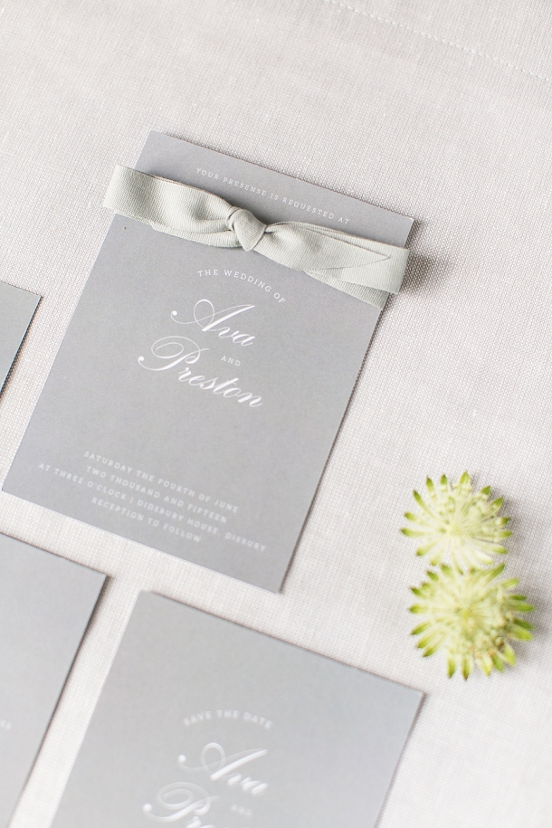 Elegant grey & white stationery by Itty Bitty & Bijou