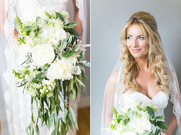 White, green & silver elegant cascading bouquet by Blue Sky Flowers