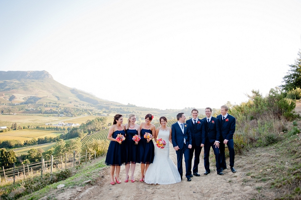 navy & coral wedding party