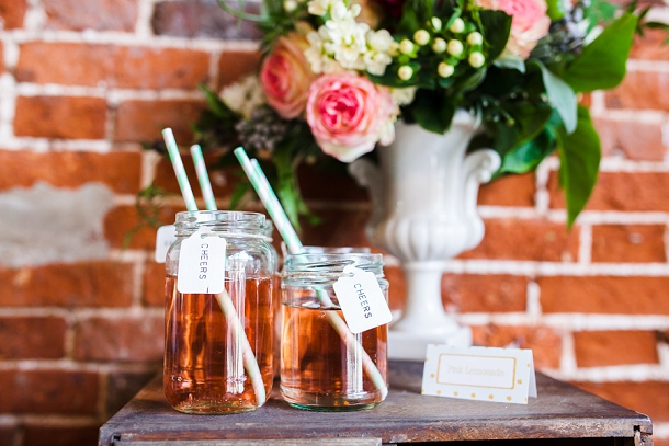 jam jar drinks with straws & tags