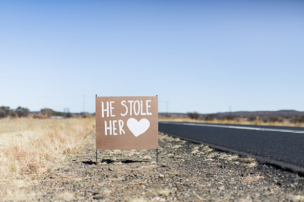 He stole her heart wedding sign