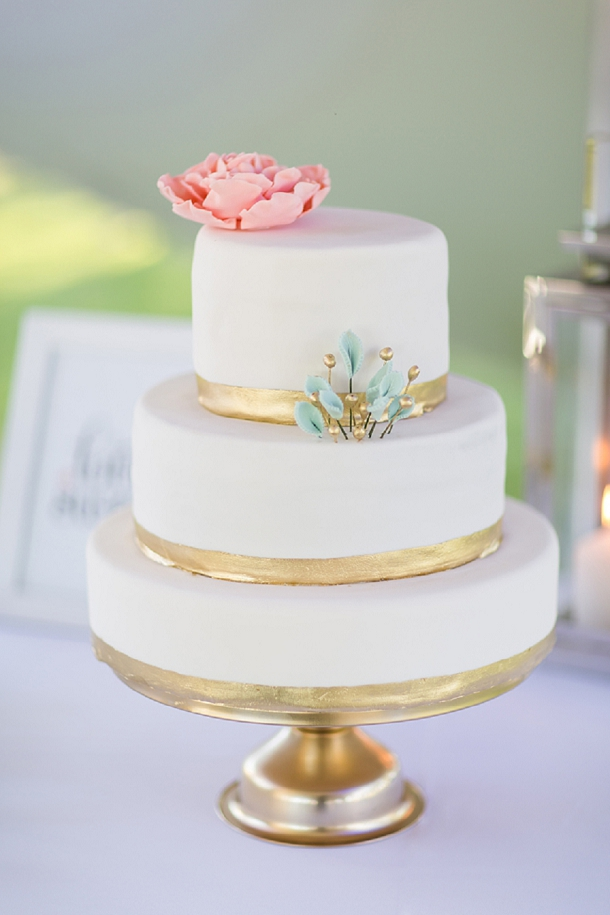 Blush, gold & mint wedding cake by bb bakes