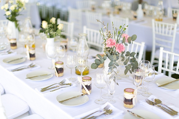 pink, grey & mint wedding table setting