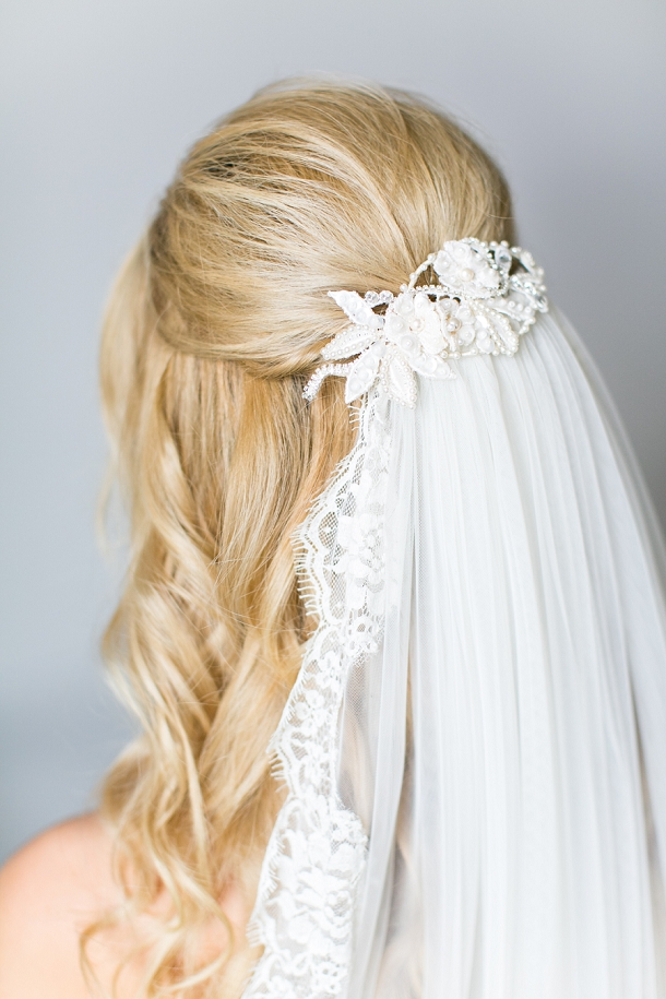 Half-up bridal hair with veil